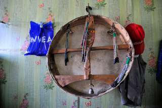 "Ritual shamanic drum between ""Nivea"" and ""Adidas"" in the offices of Adyg- Eeren"